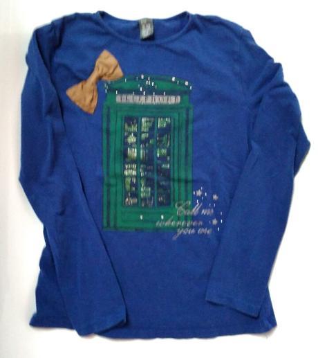 S40 - modré tričko s mašličkou, zara,152