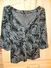 Černošedé tričko, tunika, 3/4 rukáv, h&m,40