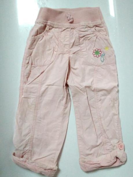 P76 - růžové plátěné kalhoty podšité, cherokee,110