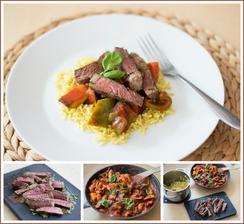 Steak, ratatouille, žlutá rýže (Jamie Oliver 15 minut v kuchyni)