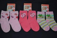 3x oteplené  protizkluzové ponožky na 0-3roky, 62 - 104