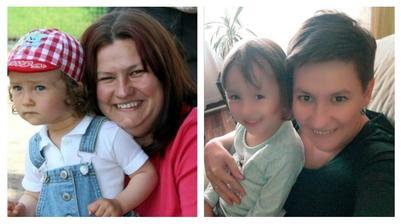 první foto 2013 starší dcera  - druhé foto 2018 mladší dcera