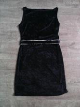 Černé sametové šaty s páskem, l