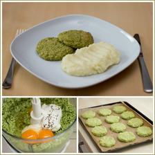 Brokolicové karbanátky, bramborová kaše