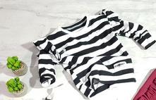 Dívčí pruhovaná mikina bílo černá s kanýrem, 92 - 146