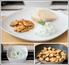Kuřecí gyros, tzaziki a bílý chléb