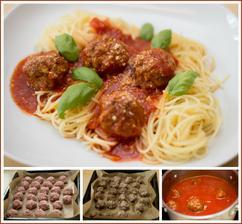 Masové kuličky s rajskou omáčkou, špagety