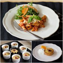 Těstoviny podle Jools, salát, košíčky frangipane