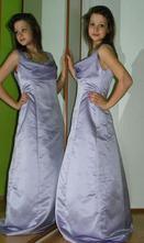 Společenské plesové večerní fialové dlouhé šaty, 38