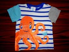 Překrásné pruhované tričko s chobotnicí, topomini,92