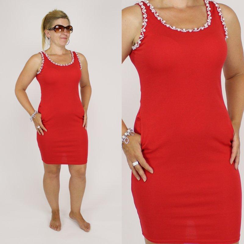 9b97ee414022 Dámské šaty s perličkama červené