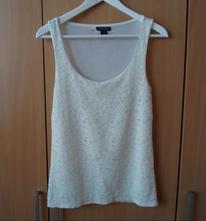 Krémové krajkové tričko tílko bílý top amisu, amisu,m