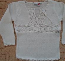 Bílý svetr, svetřík háčkovaný, pletený, lindex,92