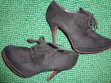 Černé semišové boty na vysokém podpatku graceland, graceland,39