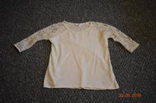 Bílý top s krajkou s 3/4 rukávem, vel. 146, h&m,146