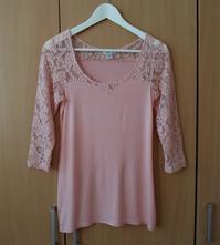 Růžové krajkové tričko bílá halenka 3/4 rukáv, amisu,m