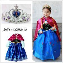 Set anna 2 ledové království šaty + korunka, 98 - 140