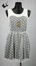 Puntíkované černo-bílé šaty vel 42, 42