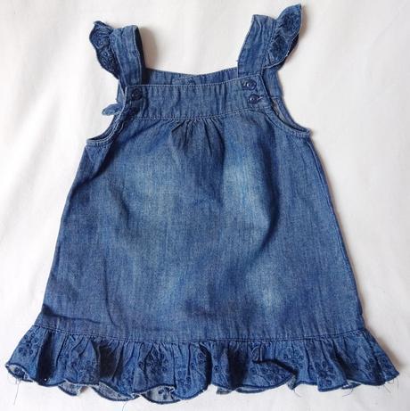 Riflová šatová sukně s volánky, h&m,68