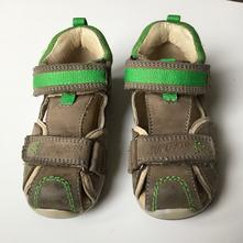 Kožené sandále zdravotní zeleno-hnědé, santé,23