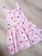 Růžové šaty s květy a motýli, h&m,140
