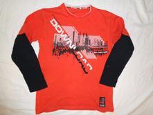 Luxusní silnější oranžovočerné tričko 158/164, c&a,158