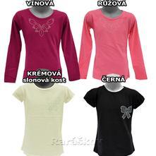 Hezké, kvalitní tričko s flitry pro holčičky, 98 - 128