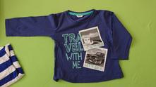 Modré bavlněné tričko s dlouhým rukávem, pepco,86