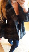 Šedo-černý kostkovaný vlněný krátký kabát zn.orsay, orsay,m
