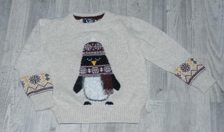 Teplý zimní svetr s tučňákem, tu,98
