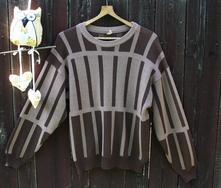 Hnědý pruhovaný pánský svetr vel l, l