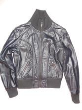 Černá koženková bunda s nápletama, s