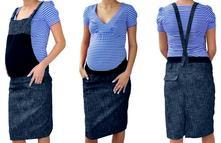 Těhotenské šaty/sukně s láclem - granátový melírek, l - xxxl