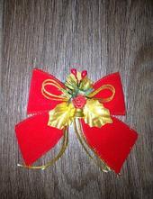 Vánoční dekorace - červená sametová mašle,