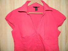 Červená košile, krátký rukáv, h&m,44