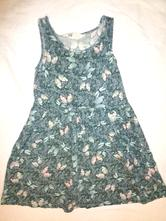 Krásné modrozelené šaty s motýlkama 122/128, h&m,122