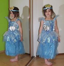 Karnevalový kostým šaty mořská princezna + čelenka,