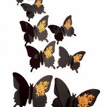 3d dekorace na zeď motýli jednobarení s růží,
