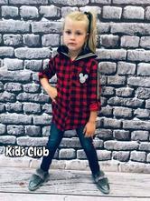 Kostkovaná dívčí košile mickey, 98 - 164