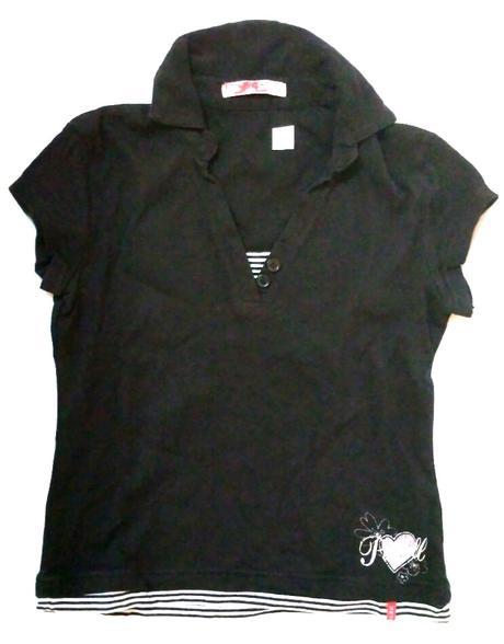 M287 - černé tričko s límečkem, l