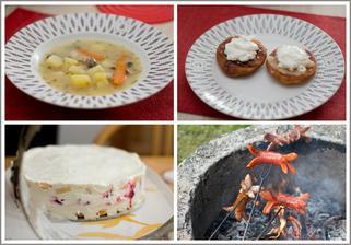 A pak že bez práce nejsou koláče - aneb hodování u babičky (bramboračka, které Davídek snědl celý talíř, vdolečky s domácími švestkovými a jablečnými povidly, tvarohem a zakysanou smetanou, nepečený tvarohový dort a buřty)