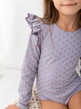 Fialkové dívčí body s měděnými puntíky a volánkem, 98 - 140