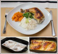 Kuře marinované v podmáslí, dušená mrkev s tymiánem, hrášek s pórkem, rýže