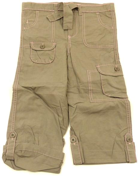 Plátěné 3/4 roll-up kalhoty s kytičkami, cherokee,110