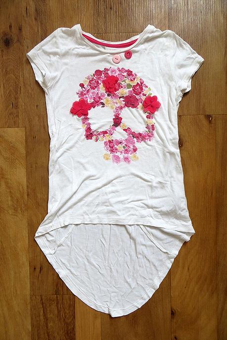 Dívčí jemné letní tričko next s lebkou,104-110-116, next,110