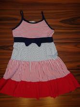 Nádherné modročervenobílé bavlněné šaty, h&m,122 / 128