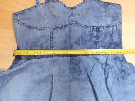 Šaty řasené, džínový vzhled , denim co,158