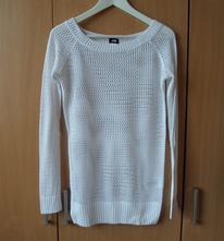 Bílý krajkový pletený přízový svetr svetřík h&m, h&m,s