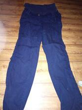 Plátěné těhotenské tmavě modré kalhoty vel.38, 38