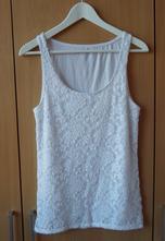 Bílé krajkové tričko tílko bílý top amisu, amisu,l